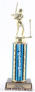 Blue Single Column Female T-Ball Trophy