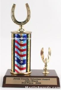 Red/White/Blue Single Column Horseshoe With 1 Eagle Trophy 1