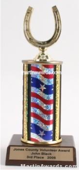 Red/White/Blue Single Column Horseshoe Trophy 1