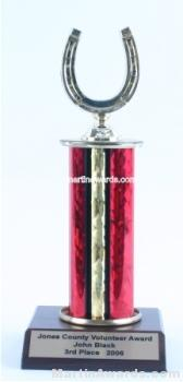 Red Single Column Horseshoe Trophy 1