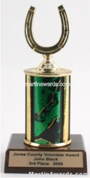 Green Single Column Horseshoe Trophy 1