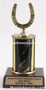 Black Single Column Horseshoe Trophy 1
