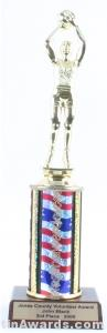 Red/White/Blue Single Column Female Basketball Trophy
