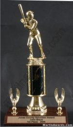 Black Single Column Male Baseball/Softball With 2 Eagles Trophy