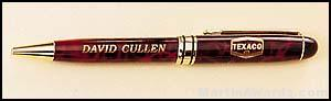 Red Marble Pen with Gold Trim