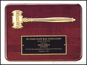 Gold Electroplate Gavel on 9″ x 12″ Rosewood Piano-Finish Plaque 1