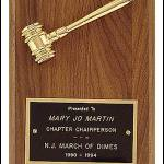 Plaque - Metal Goldtone Gavel Awards