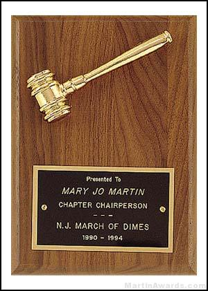 Plaque – Metal Goldtone Gavel Awards 1