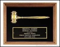 Plaque - Walnut Frame Gavel Plaques with Gold Tone Gavel- Velour Background