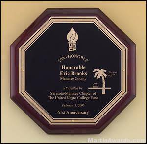 Plaque - Rosewood Stained Octagonal Plaque