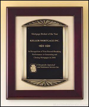 Plaque – Rosewood Stained Piano Finish Plaque w/Bronze Frame Casting and Black Brass Engraving Plate 1