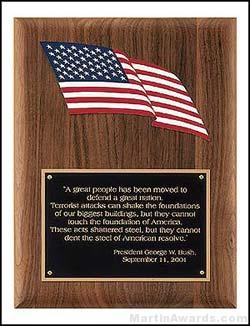 Plaque - Solid American Walnut  Plaque with American Flag Relief