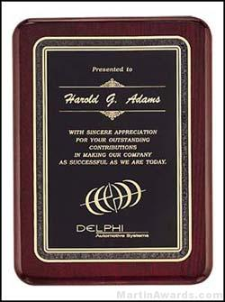 Piano Finish Retirment Plaques with Black Florentine Border