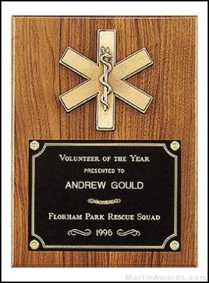 Plaque - Fireman Award Plaque Emergency Medical Award