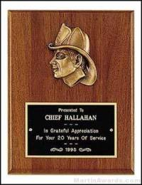 Plaque - Fireman Award Plaques with Cast Fireman