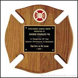 Fireman Award Plaque - Cross Design
