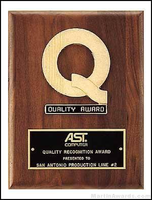 "Plaques W/ Quality Award ""Q"""