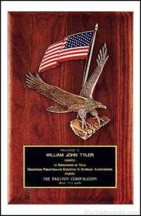 Plaque - Walnut Plaque with Large Eagle Casting and American Flag