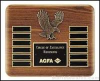 Plaque - Walnut Stained Perpetual Plaques with Antique Bronze Cast Eagle