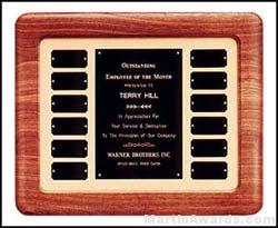 Plaque - Walnut Perpetual Plaques with 12 Ind. Plates and Large Header Plate