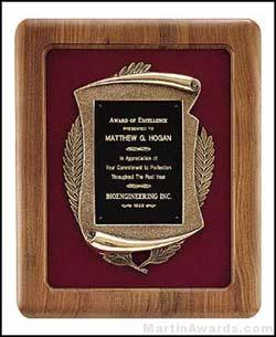 Plaque – American Walnut Plaques w/Antique Bronze Casting 1