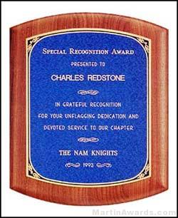 Plaque - Solid American Walnut Plaque with Linen Textured Plates