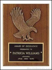 Plaque - American Walnut Plaques with Antique Bronze Cast Eagle