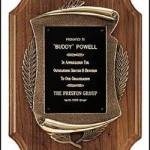 Plaque – American Walnut Plaque w/Antique Bronze Scroll Castings 1