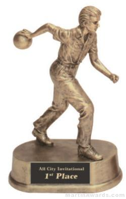 Male Bowling Gold Resin Trophy 1