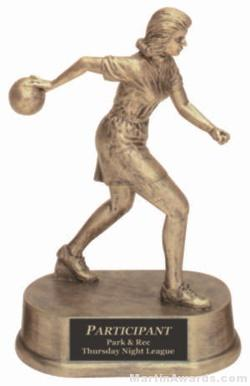 Female Bowling Gold Resin Trophy 1