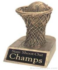 Basketball and Net Gold Resin Trophy
