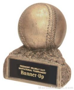 Baseball On Base Gold Resin Trophy