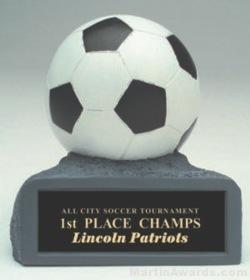 B/W Soccer On Base Gold Resin Trophy 1