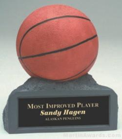 Orange Basketball On Base Gold Resin Trophy 1