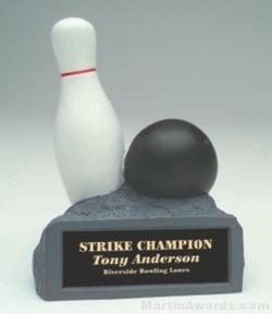 B/W Bowling On Base Gold Resin Trophy