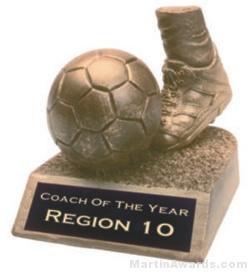 Soccer Ball and Foot Gold Resin Trophy