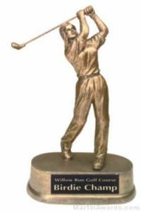 Female Golf Gold Resin Trophy