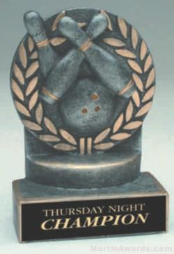 Bowling Wreath Resin Trophy