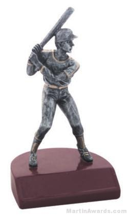 Male Baseball Silver Resin Trophy 1