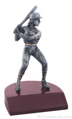 Female Baseball Silver Resin Trophy