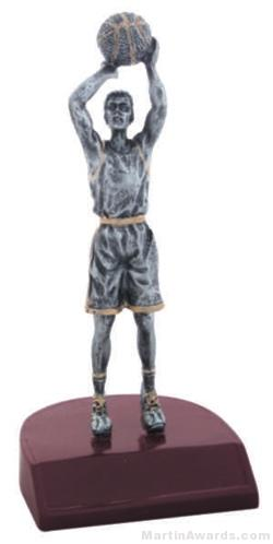 Male Basketball Silver Resin Trophy