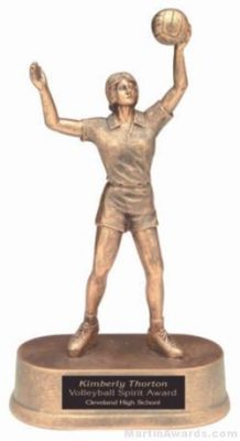 Female Volleyball Gold Resin Trophy