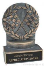Racing Flags Wreath Resin Trophy