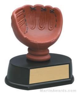 (Holds Baseball) Baseball Glove Gold Resin Trophy 1