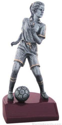 Female Soccer Silver Resin Trophy 1