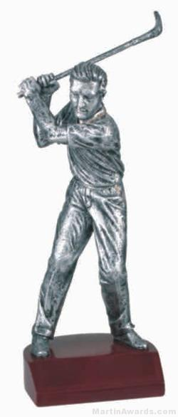Male Golf Silver Resin Trophy