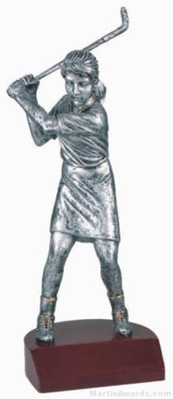 Female Golf Silver Resin Trophy 1
