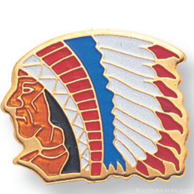11/16″ Indian Chief Mascot Lapel Pin 1