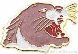15/16″ Enameled Cougar Mascot Pin 1