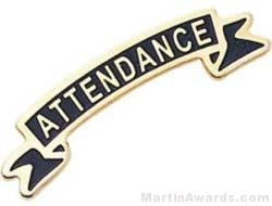 "1 3/8"" Etched Soft Enamel Attendance Chenille Letter Pin"